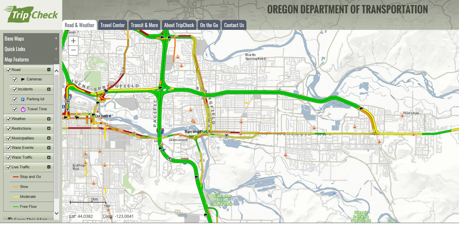 Image of ODOT's Trip Check Map