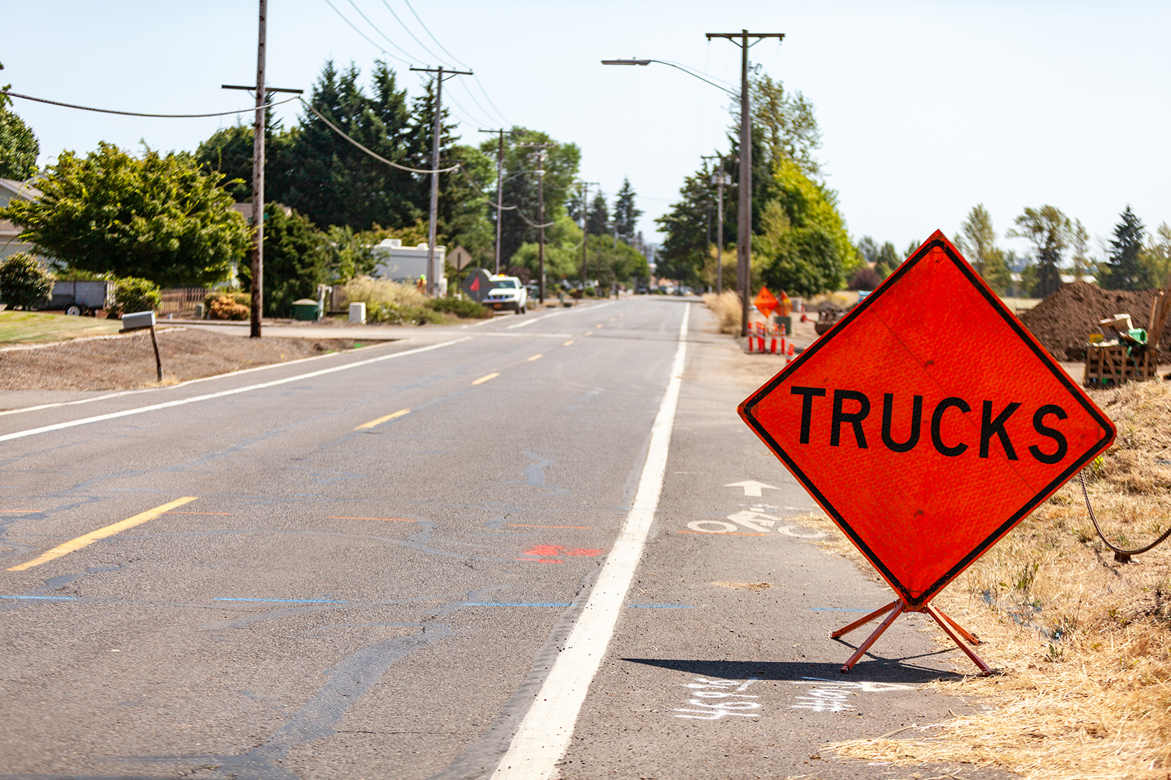 Street with Truck Construction sign